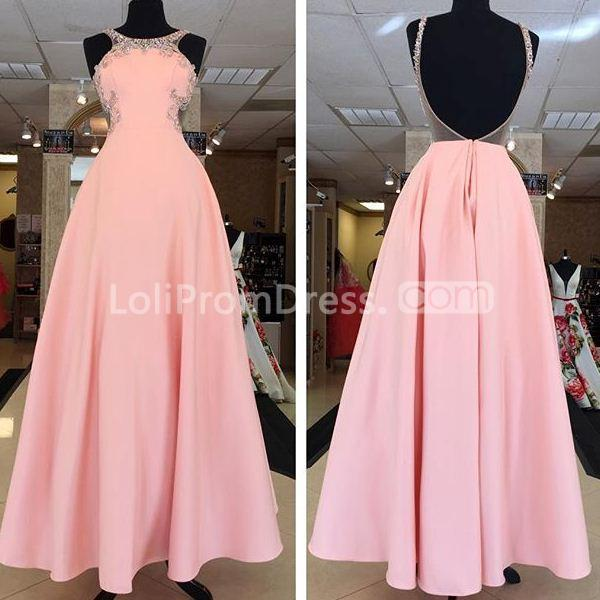 a0b9616268 49%OFF Long Elegant Pink Ball Gown Halter Sleeveless Backless ...