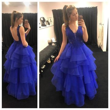 Long Royal Blue Ball Gown V-Neck Sleeveless Backless Appliques Prom Dresses 2019 Open Back