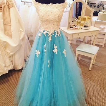 Long Cute Blue A-line Appliques Prom Dresses 2019 Princess