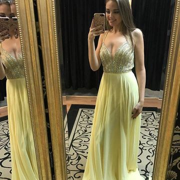 Long Cute Yellow A-line Spaghetti Straps Sleeveless Beading Prom Dresses 2019 Chiffon Sexy