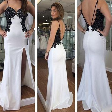 Long Sexy White Sheath Spaghetti Straps Sleeveless Backless Appliques Prom Dresses 2019 Open Back