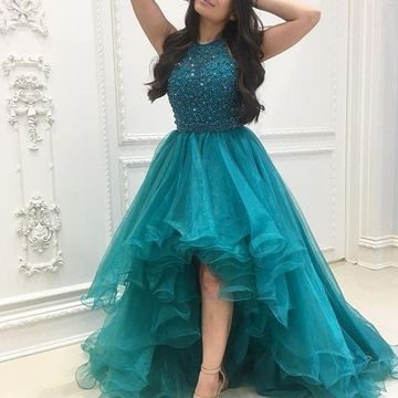 Cute Green Halter Sleeveless Beading Prom Dresses 2019 Sexy For Short Girls A-line