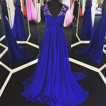 Long Sexy Blue A-line V-Neck Capped Sleeves Zipper Appliques Prom Dresses 2019 Chiffon