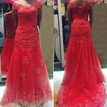 Long Sexy Red Mermaid Corset Appliques Prom Dresses 2019