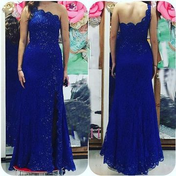 Long Sexy Blue Sheath One Shoulder Sleeveless Backless Beading Prom Dresses 2019 Open Back Lace