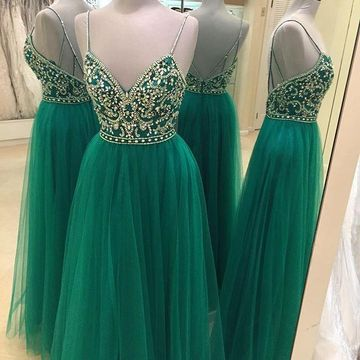 Sexy Green Ball Gown Spaghetti Straps Sleeveless Backless Beading Prom Dresses 2019 Open Back