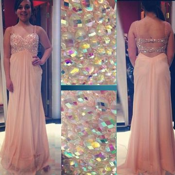 Long Sexy A-line Straps Sleeveless Backless Criss Cross Prom Dresses 2019 Open Back Chiffon