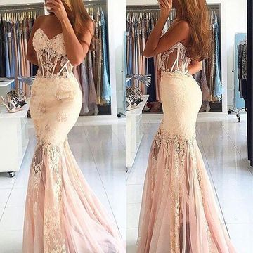 Long Sexy Mermaid Sweetheart Sleeveless Backless Beading Prom Dresses 2020 Open Back Lace