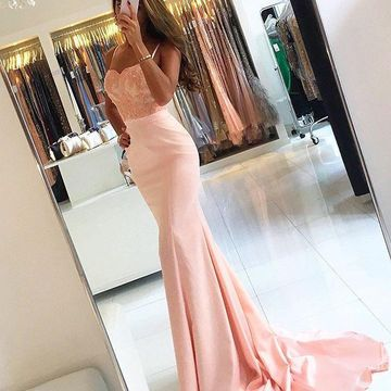Long Sexy Pink Mermaid Spaghetti Straps Sleeveless Zipper Appliques Prom Dresses 2019