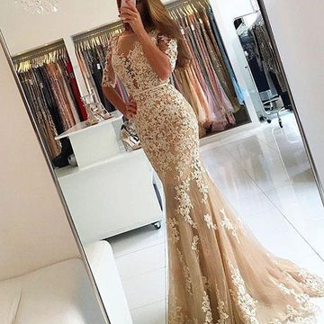 Long Sexy Mermaid Half Sleeves Backless Appliques Prom Dresses 2019 Open Back