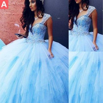 Sexy Blue Ball Gown Queen Anne Sleeveless Corset Beading Prom Dresses 2019