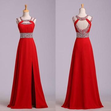 Long Red A-line Bateau Sleeveless Zipper Beading Prom Dresses 2019 Chiffon