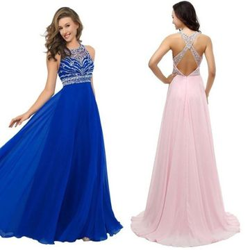 Long Blue A-line Halter Sleeveless Backless Beading Prom Dresses 2019 Open Back Chiffon