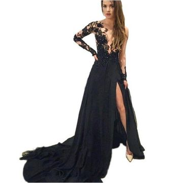 Sexy Black A-line Long Sleeves Zipper Appliques Prom Dresses 2019 Chiffon