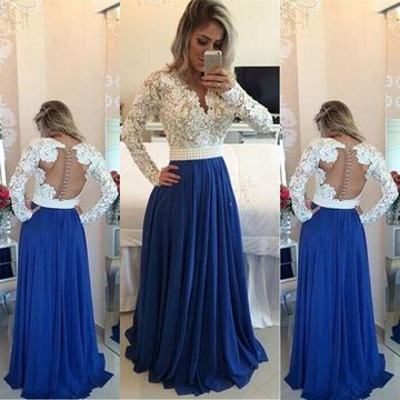 Blue A-line V-Neck Long Sleeves Backless Appliques Prom Dresses 2019 Open Back Chiffon