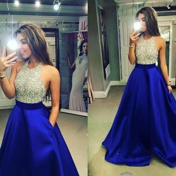 42b76b42b9b 49%OFF Long Junior Blue A-line Halter Sleeveless Backless Beading ...
