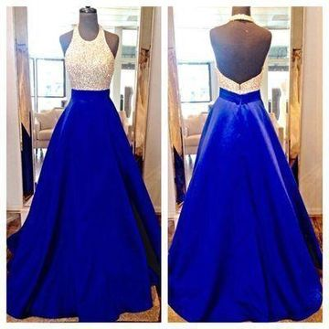 181bc771c8b 49%OFF Long Junior Blue A-line Halter Sleeveless Backless Beading Prom  Dresses 2019 Open Back Sexy For Short Girls – lolipromdress.com