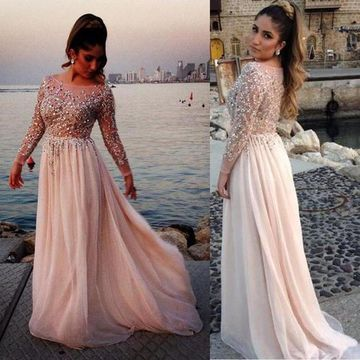 A-line Bateau Long Sleeves Zipper Prom Dresses 2019 Chiffon Sexy