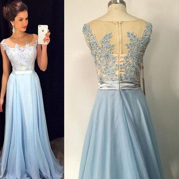 Long Sexy Blue A-line Sleeveless Zipper Appliques Prom Dresses 2019 Chiffon For Short Girls