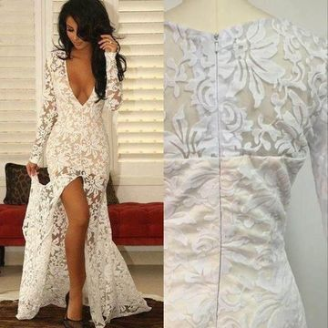 Sexy White Mermaid V-Neck Long Sleeves Zipper Prom Dresses 2020 Lace