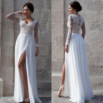 Elegant White A-line Sweetheart Long Sleeves Zipper Appliques Prom Dresses 2020 Chiffon Sexy