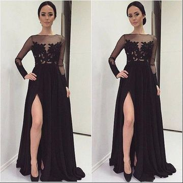 Sexy Black A-line Long Sleeves Zipper Prom Dresses 2019 Lace