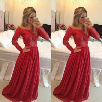 Sexy Red A-line Long Sleeves Zipper Appliques Prom Dresses 2019 Chiffon