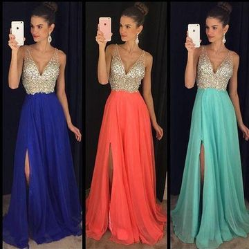 Long Elegant Blue A-line Straps Sleeveless Zipper Sequins Prom Dresses 2019 Chiffon Sexy For Short Girls