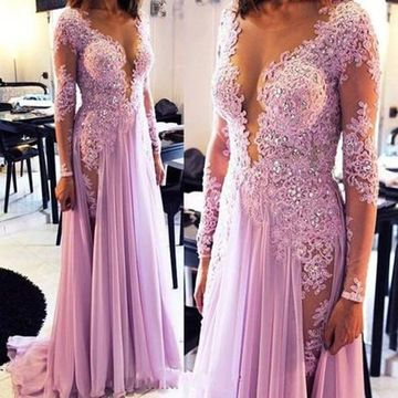 Elegant A-line V-Neck Long Sleeves Zipper Appliques Prom Dresses 2019 Chiffon Sexy