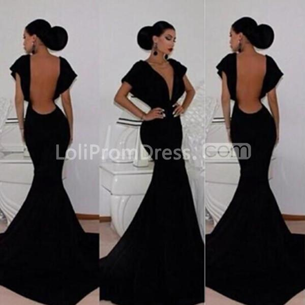 dc50a116c7e6 49%OFF Long Sexy Black Mermaid V-Neck Short Sleeves Backless Prom ...