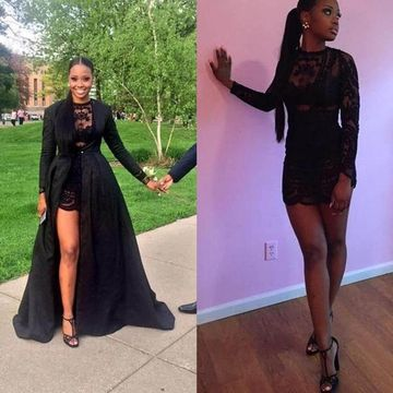 Sexy Black A-line Long Sleeves Prom Dresses 2020 Lace