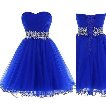 Cute Blue A-line Sweetheart Sleeveless Corset Beading Prom Dresses 2019
