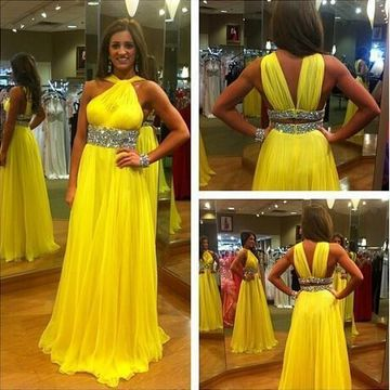 Long Yellow A-line Halter Sleeveless Backless Beading Prom Dresses 2019 Open Back Chiffon
