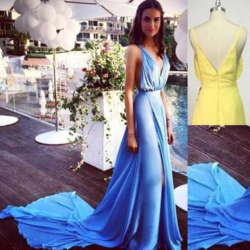 Straps A-line with Long Blue Prom Dress