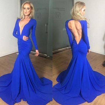 Sexy Blue Mermaid V-Neck Long Sleeves Backless Ruched Prom Dresses 2020 Open Back