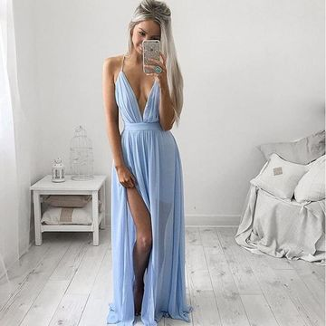 Long Sexy Blue A-line Spaghetti Straps Sleeveless Backless Split Front Prom Dresses 2019 Open Back Chiffon