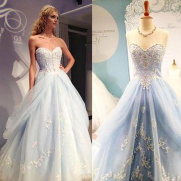 Long Junior Blue Ball Gown Sweetheart Sleeveless Appliques Prom Dresses 2019 Sexy For Short Girls
