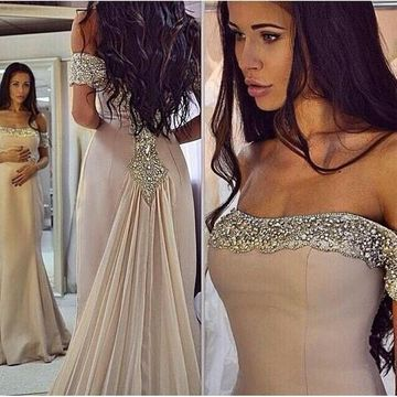 Long Sexy Beige/Champagne Mermaid Sleeveless Zipper Beading Prom Dresses 2019
