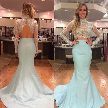 Sexy Blue Mermaid High Neck Long Sleeves Backless Sequins Prom Dresses 2019 Open Back Two Piece