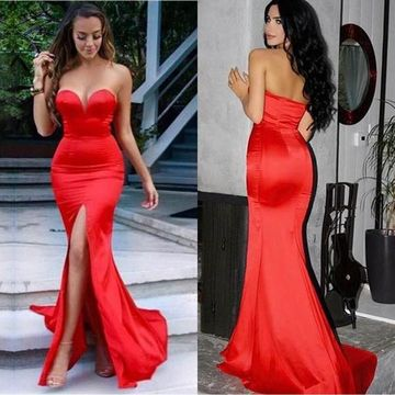 Long Sexy Red Mermaid Sweetheart Sleeveless Zipper Split Front Prom Dresses 2019