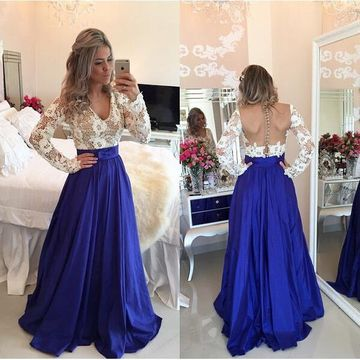 Sexy Blue A-line V-Neck Long Sleeves Backless Embroidery Prom Dresses 2019 Open Back