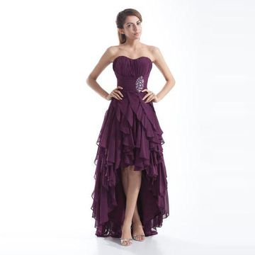 Purple A-line Strapless Sleeveless Zipper Beading Prom Dresses 2019 Chiffon