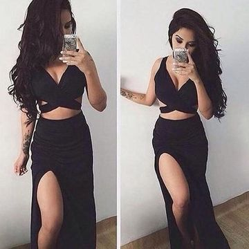 Long Sexy Black Straps Sleeveless Backless Criss Cross Prom Dresses 2019 Open Back Sheath Two Piece