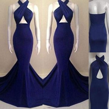 Long Sexy Blue Mermaid Halter Backless Ruffles Prom Dresses 2019 Open Back