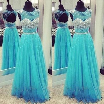 49%OFF Long Cute Blue A-line Sleeveless Zipper Beading Prom Dresses ... 9f8b9f05a