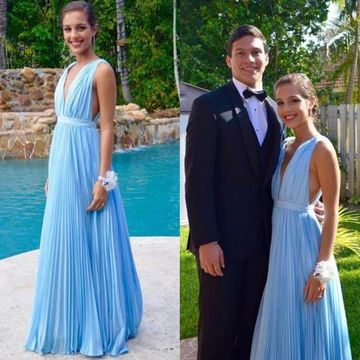 Cheap Long Elegant Blue A-line Straps Sleeveless Pleats Prom Dresses 2020 V-Neck Chiffon Sexy