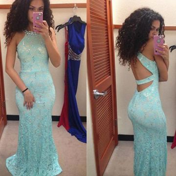 Long Sexy Mermaid Halter Sleeveless Backless Beading Prom Dresses 2019 Open Back Lace