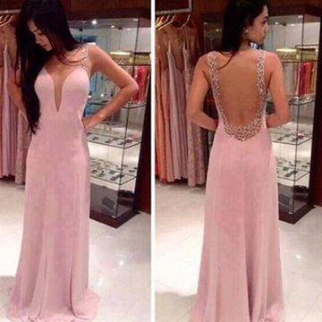 Long Sexy Pink Sleeveless Beading Prom Dresses 2019