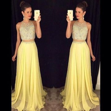 Long Sexy Yellow A-line Sleeveless Zipper Beading Prom Dresses 2019 Chiffon Two Piece
