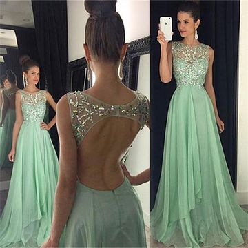 Long A-line Scoop Sleeveless Backless Crystal Detailing Prom Dresses 2020 Open Back Chiffon